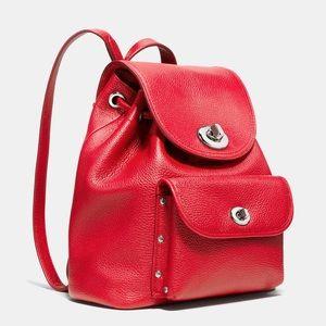 Coach Mini Turnlock Rucksack Red Leather Backpack